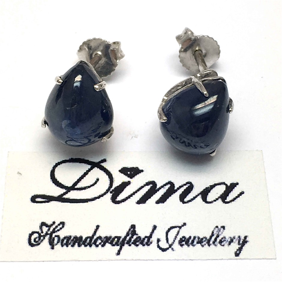 18ct White Gold, 7.22ct Blue Sapphire Earring