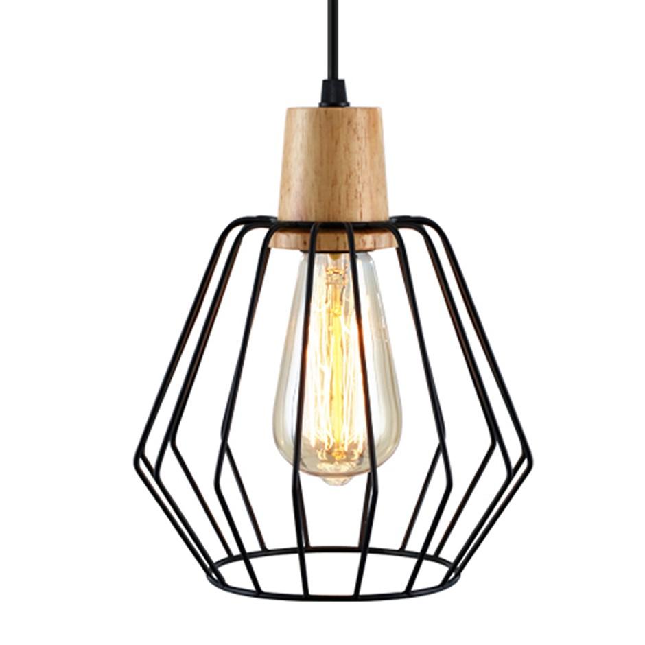 Artiss Wood Pendant Light Modern Ceiling Lighting Wire Lamp Bar Black