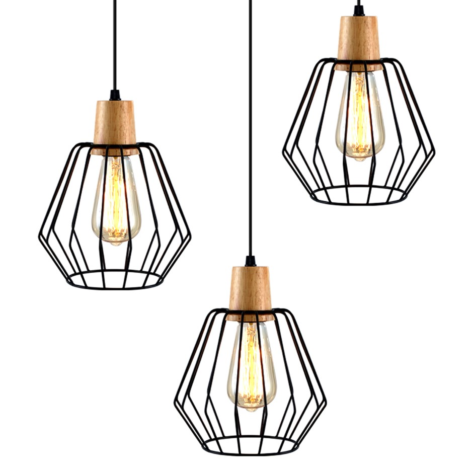 Artiss 3x Wood Pendant Light Modern Ceiling Lighting Wire Lamp Bar