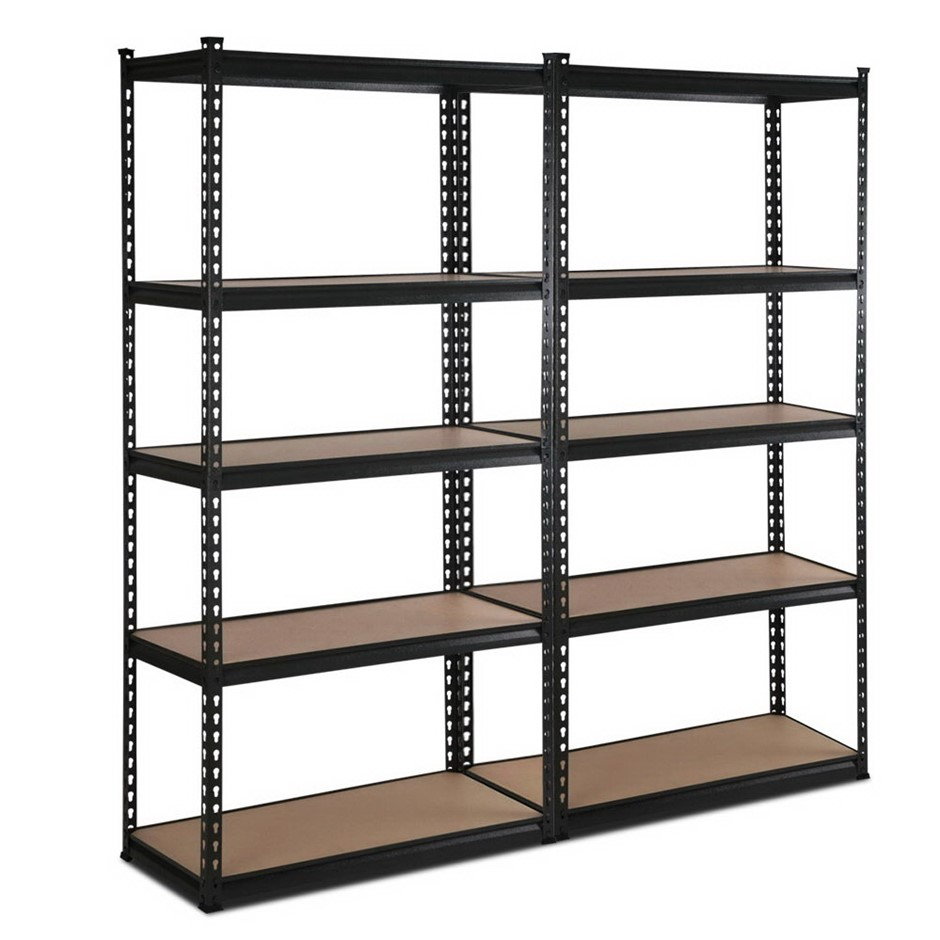 Giantz 2x90CM Steel Warehouse Rack Shelving Racking Garage Storage Black