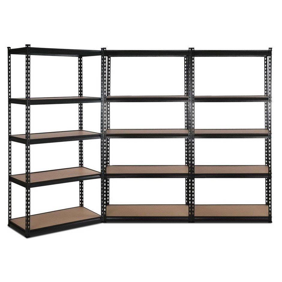 Giantz 3x90CM Steel Warehouse Shelving Racking Garage Storage Rack Black