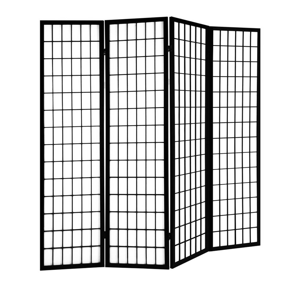 Artiss 6 Panel Room Divider Screen Wooden Timber Black Fold Stand Privacy