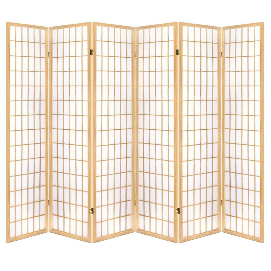 Artiss 6 Panel Room Divider Screen Wooden Timber Natural Fold Stand Privacy