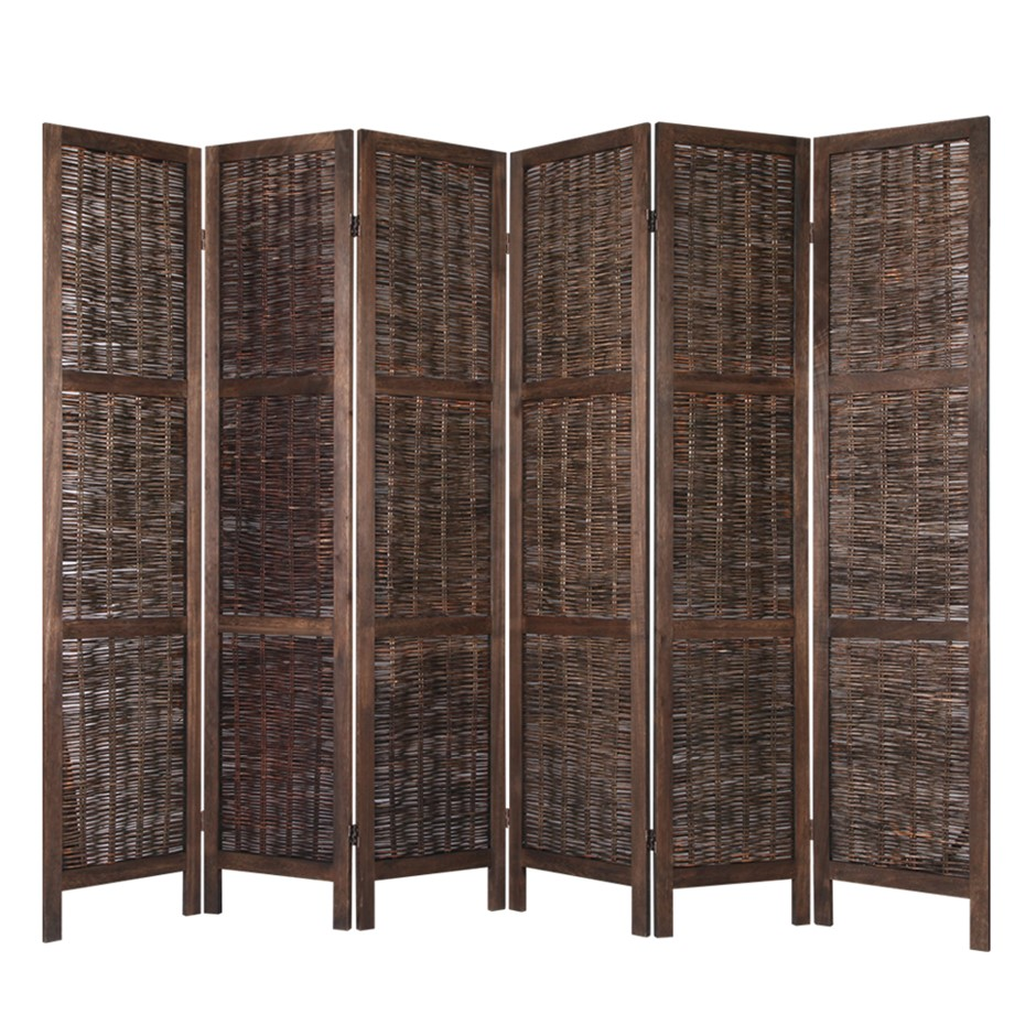 Artiss 6 Panel Room Divider Screen Wood Foldable Willow Stand Timber