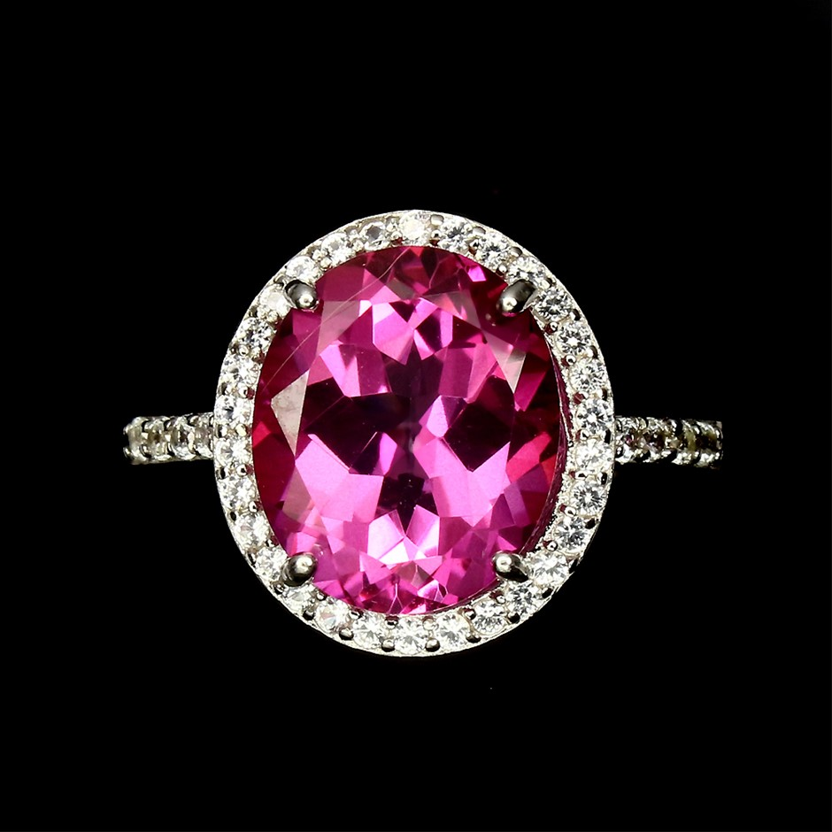 19fab8c6a Spectacular Hot Pink Genuine Topaz Ring.