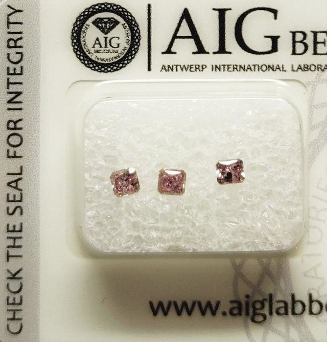Three Loose AIG Pink Diamond 0.38ct in Total