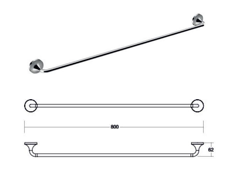 JS Swift Single Towel Rail 80cm
