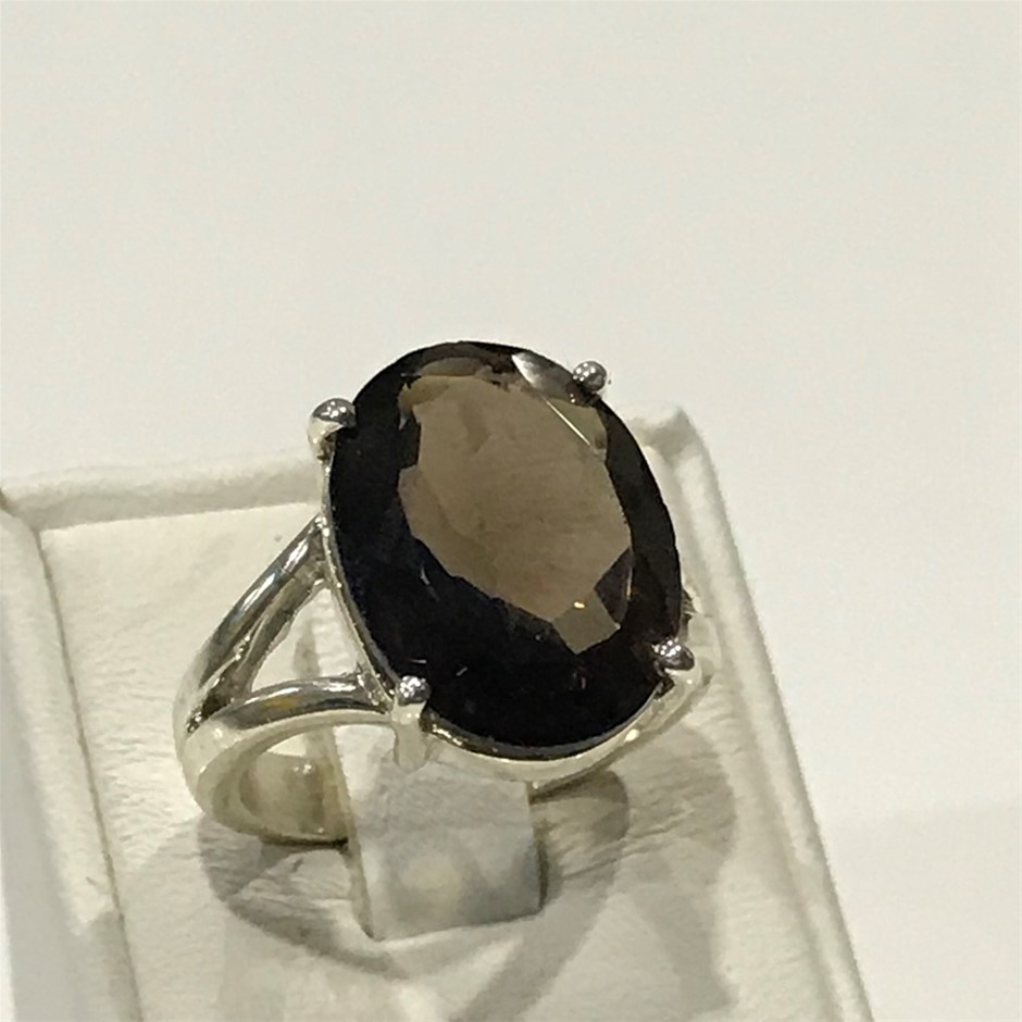 Truly Magnificent Genuine 10.20ct Smokey Quartz Ring Size N (7)