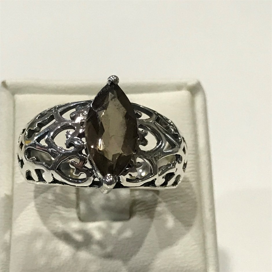 Glorious Vintage Style 2.20ct Genuine Smokey Quartz Ring Size N 1/2 (7)