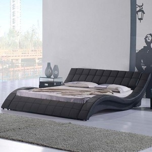 Rosetta King Size Leather Bed Black