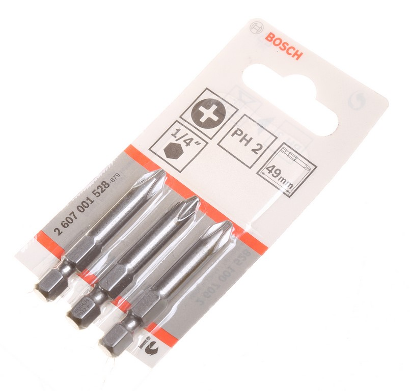 20 Packs of 3 BOSCH PH2 x 49mm Impact Bits 1/4`` Hex Drive. Buyers Note - D