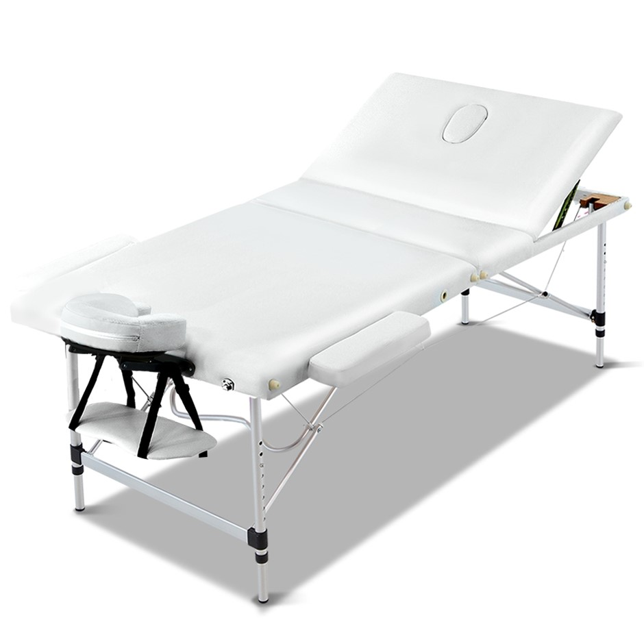Zenses 80CM Portable 3 Fold Aluminium Massage Table Therapy Beauty Bed