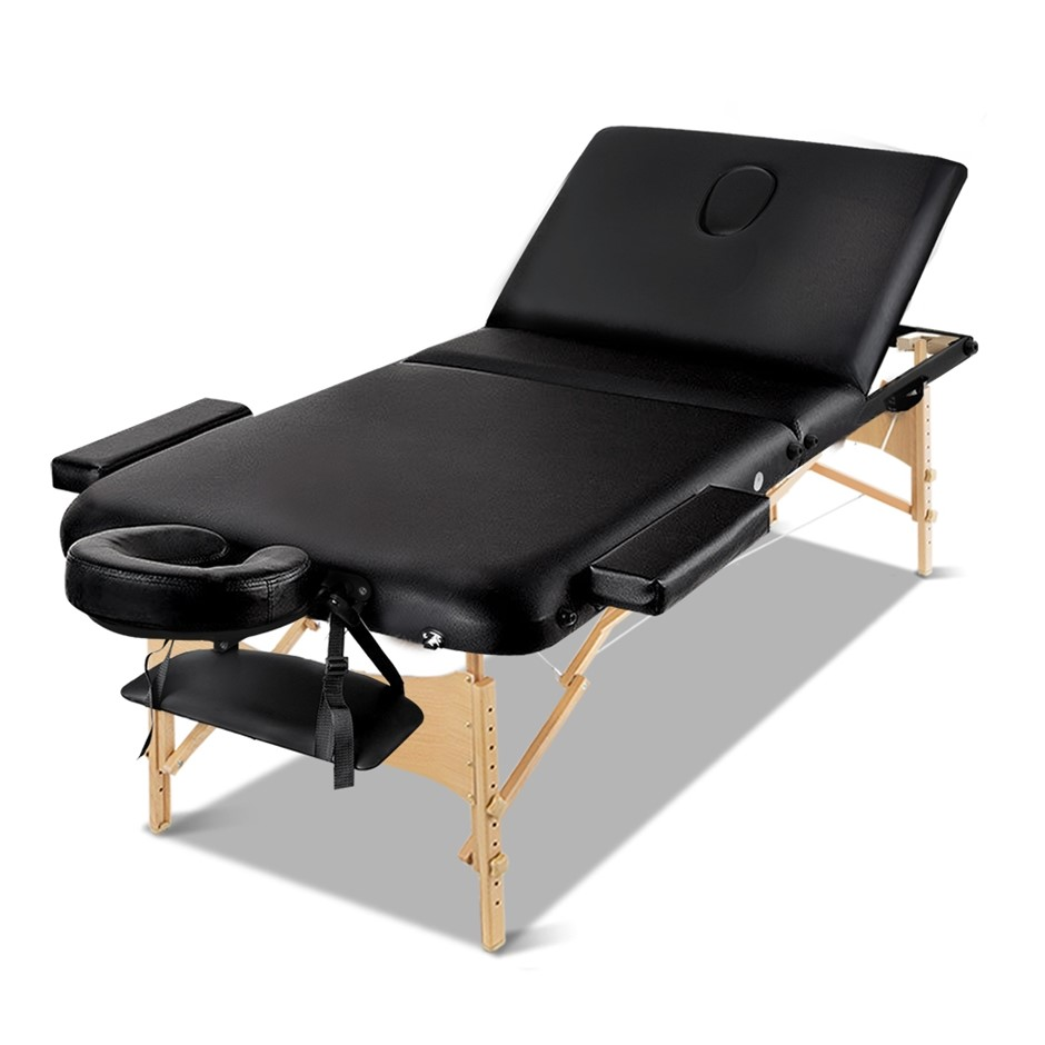 Zenses Wooden Portable Massage Table 3 Fold Beauty Therapy Bed 75CM BLACK