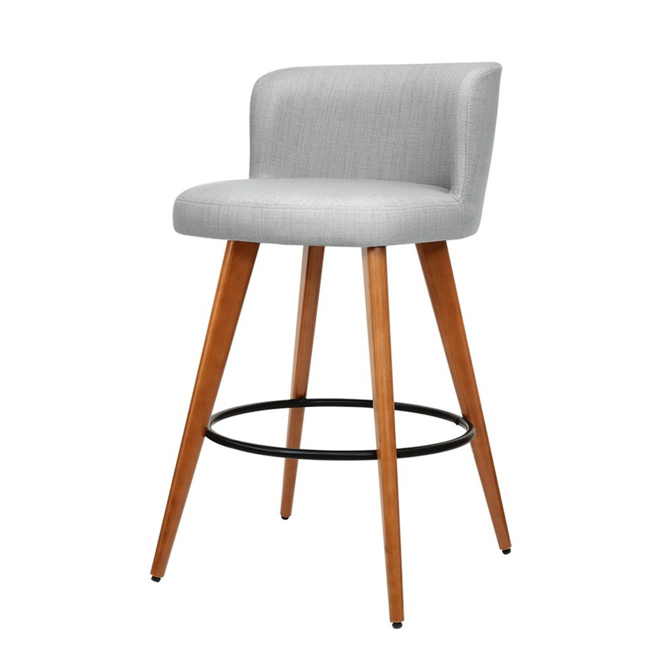 Artiss 2x Wooden Bar Stools Modern Bar Stool Kitchen Dining Cafe Grey