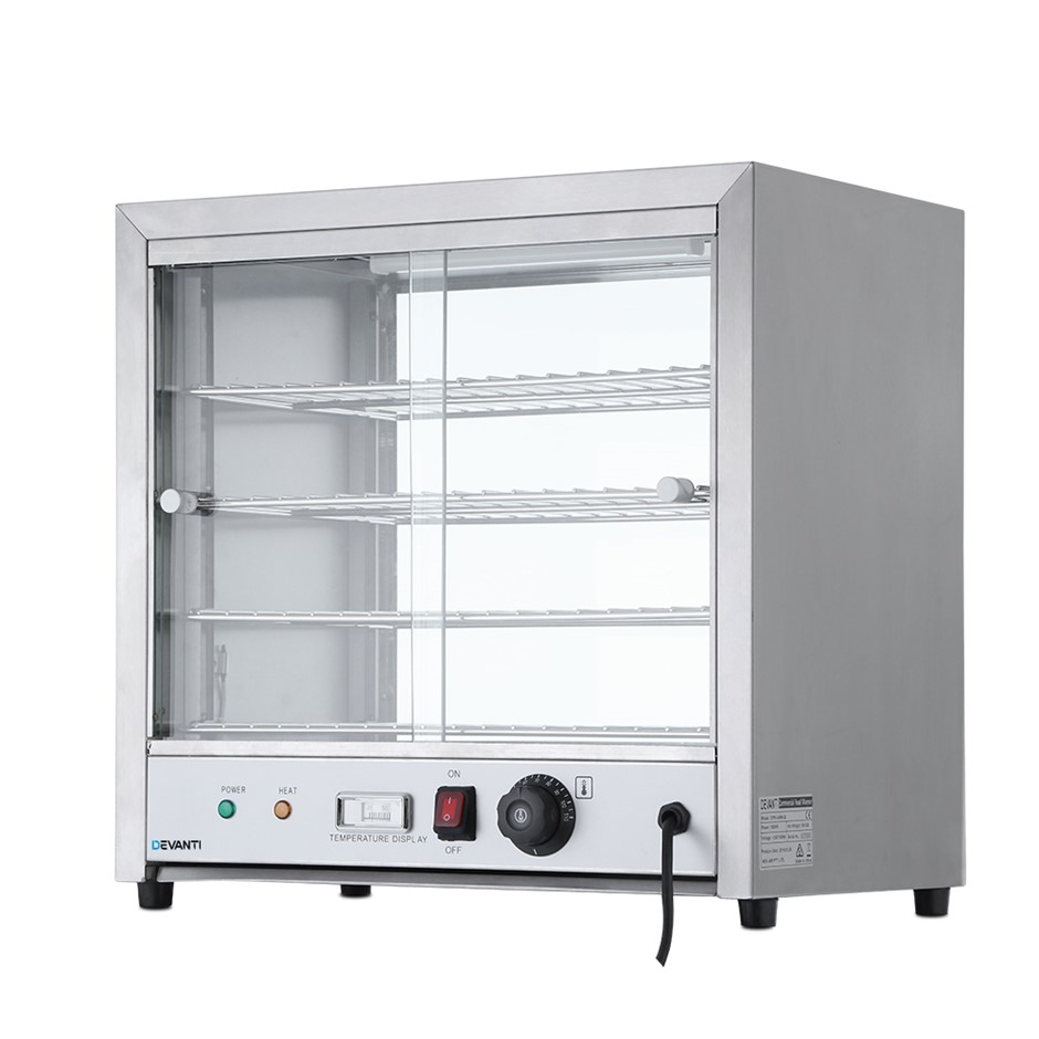 Devanti Commercial Food Warmer Pie Hot Display Showcase Stainless Steel
