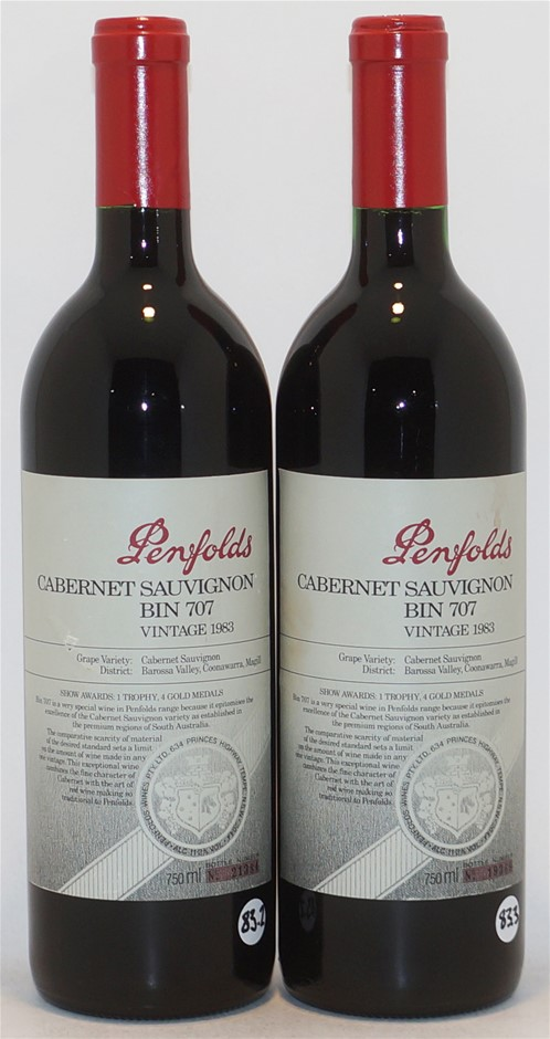 Penfolds `Bin 707` Cabernet Sauvignon 1983 (2 x 750ml), Coonawarra, SA.