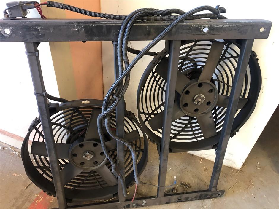 24 Volt Radiator Fan Set. Steel Frame, Wiring & Relay. Truck / Crane