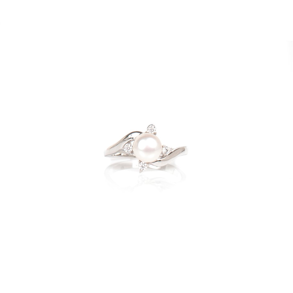 White Pearl And Cubic Zirconia Sterling Silver Ring