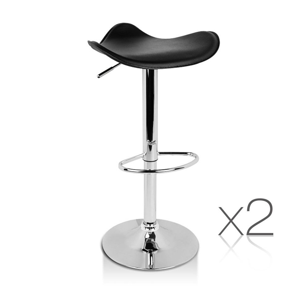 Artiss Set of 2 PVC leather Kitchen Bar Stools - Black