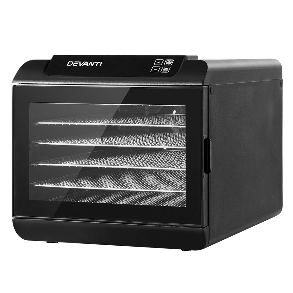 Devanti 6 Tray Food Dehydrators Commercial Jerky Maker Fruit Dryer Black