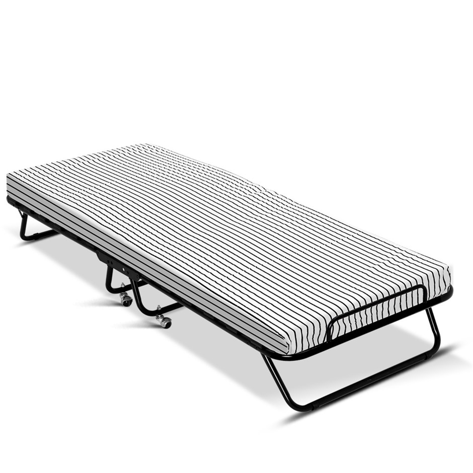 Artiss Single Folding Bed with Mattress Camping Portable Foam Rollaway Beds