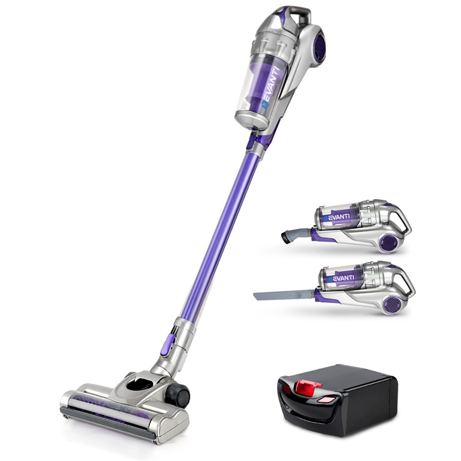 Devanti 120W Handstick Bagless Vacuum Purple Grey with Spare Battery