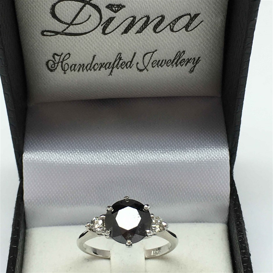 18ct White Gold, 3.03ct Diamond Stone Ring