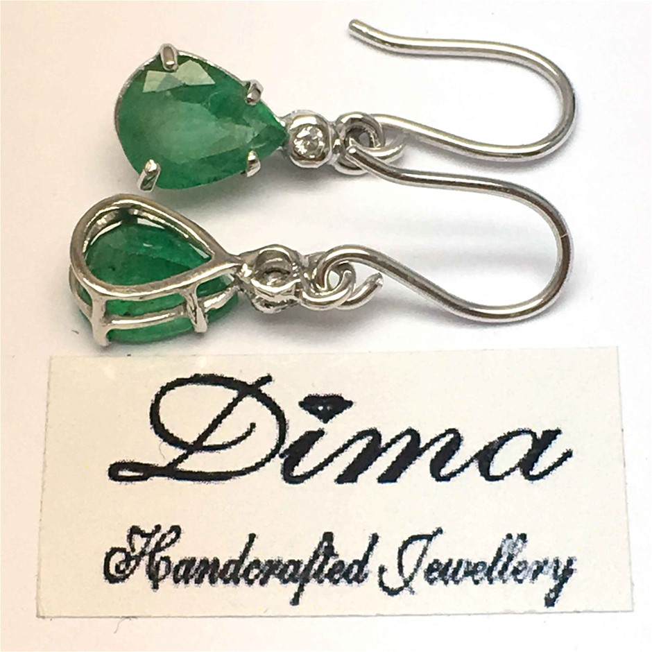 18ct White Gold, 3.60ct Emerald and Diamond Earrings