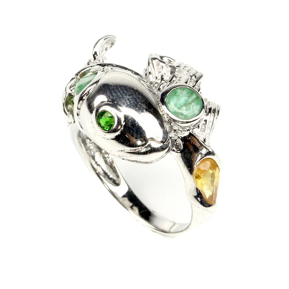 Unique Genuine Emerald & Sapphire Fishy Ring