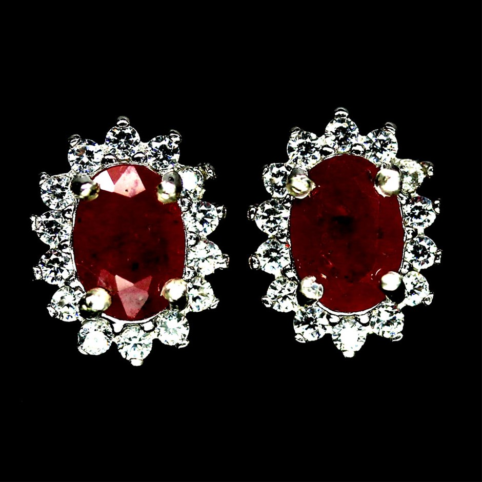 Beautiful Genuine Ruby Stud Earrings.