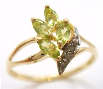 Genuine Diamond & Peridot 9K Gold Ring.