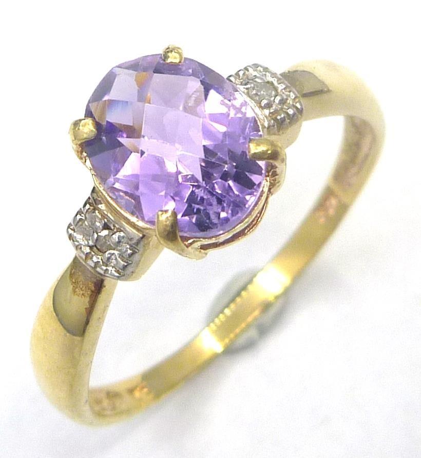 Genuine Diamond & Amethyst 9K Gold Ring.