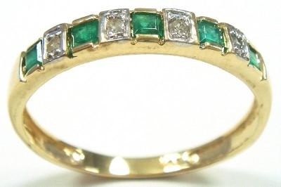 Genuine Diamond & Emerald 9k Gold Eternity Ring