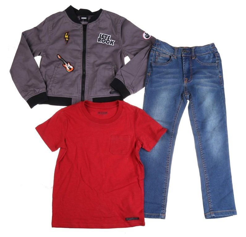HUDSON Children`s 3pc Set, Size 4, Comprising of Rock Music Print Jacket, S