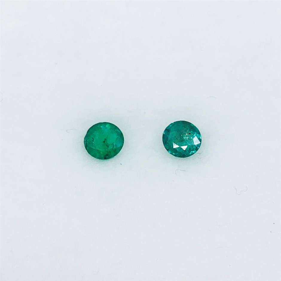 0.50 ct - 2 Pcs of Round Cut Natural Emerald