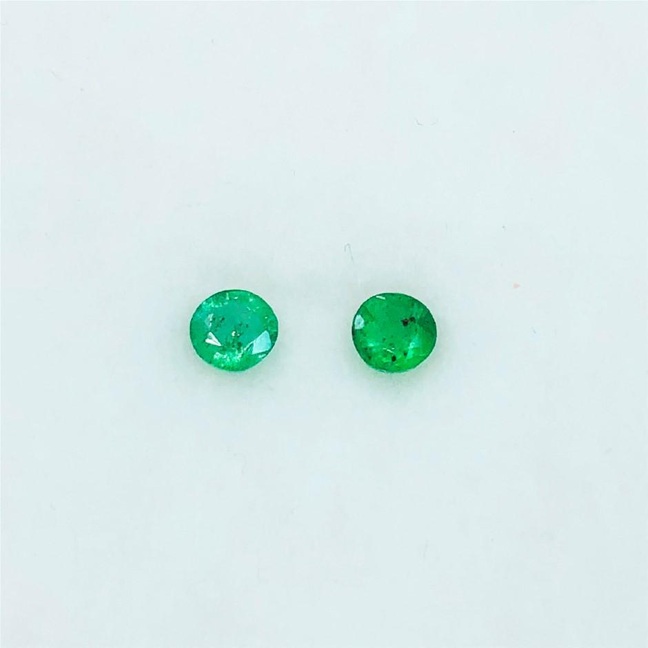 0.46 ct - 2 Pcs of Round Cut Natural Emerald