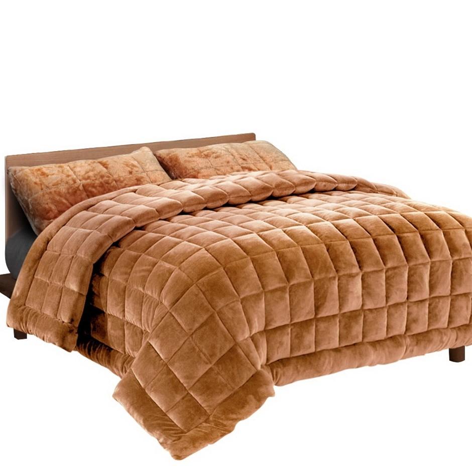 Giselle Bedding Faux Mink Quilt Comforter Winter Weight Blanket Latte Queen