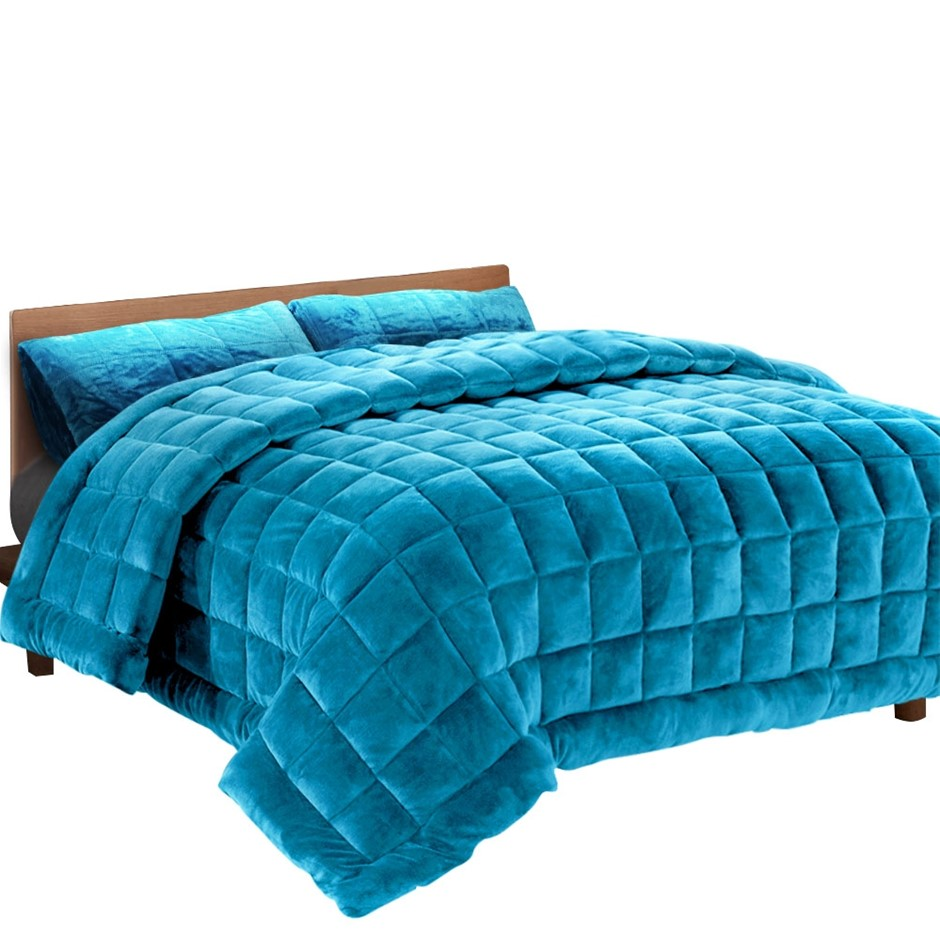 Giselle Bedding Faux Mink Quilt Comforter Winter Throw Blanket Teal Single