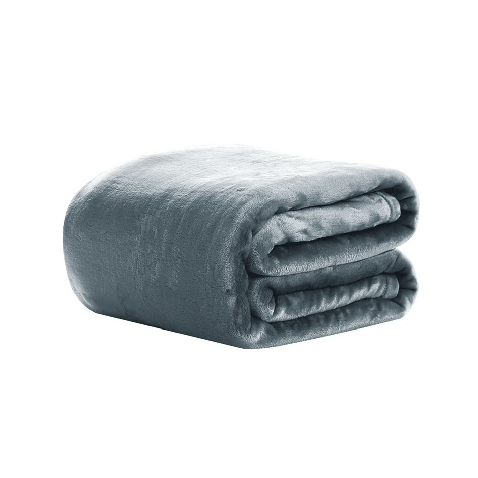 Giselle Bedding Mink Blanket Quilt Duvet Fleece Bedspread Silver King