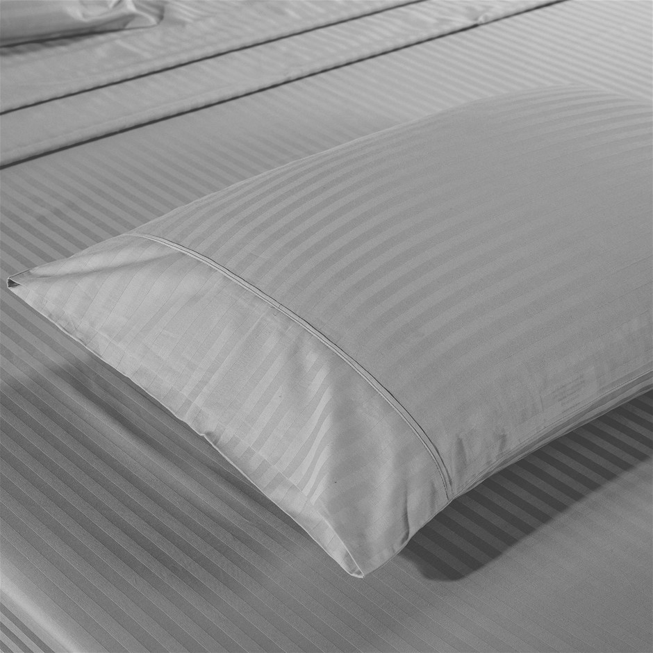 Kensington 1200TC 100% Egyptian Cotton Sheet set in Stripe Single- Silver