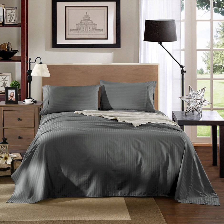Kensington 1200TC 100% Egyptian Cotton Sheet Set In Stripe-Double Charcoal