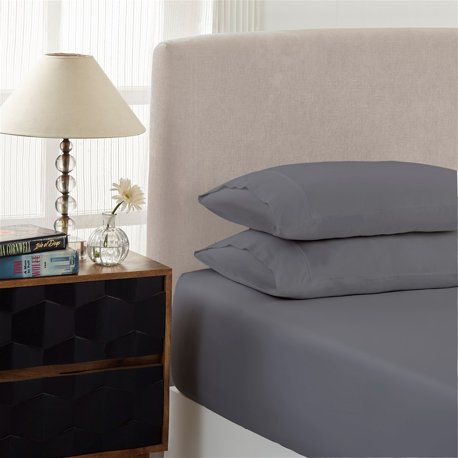 Royal Comfort 1500TC Cotton Rich 3-Piece Fitted Sheet Set King - Dusk Grey