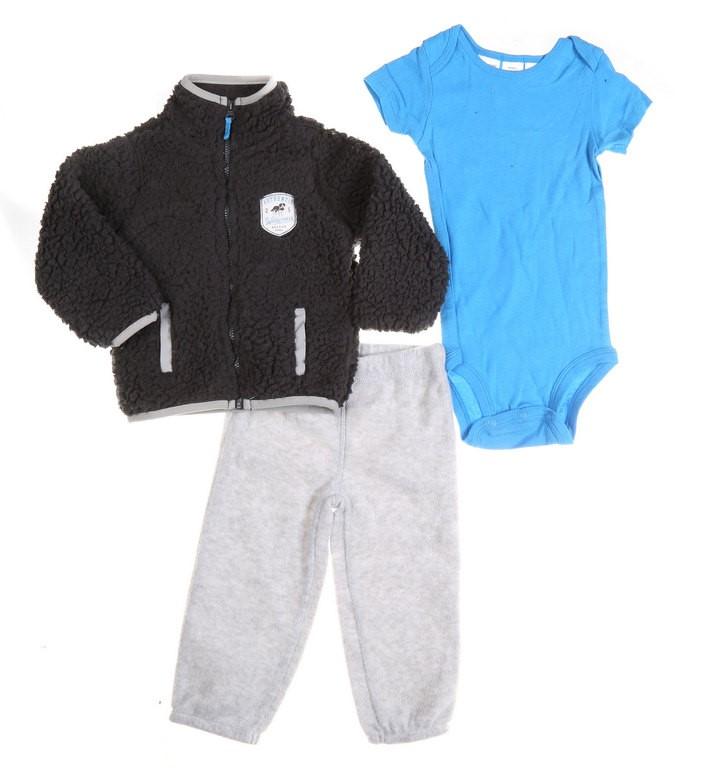 2 x CARTER`S 3pc Boy`s Winter Clothing Set, Age 12M, Incl; Jacket, Romper &