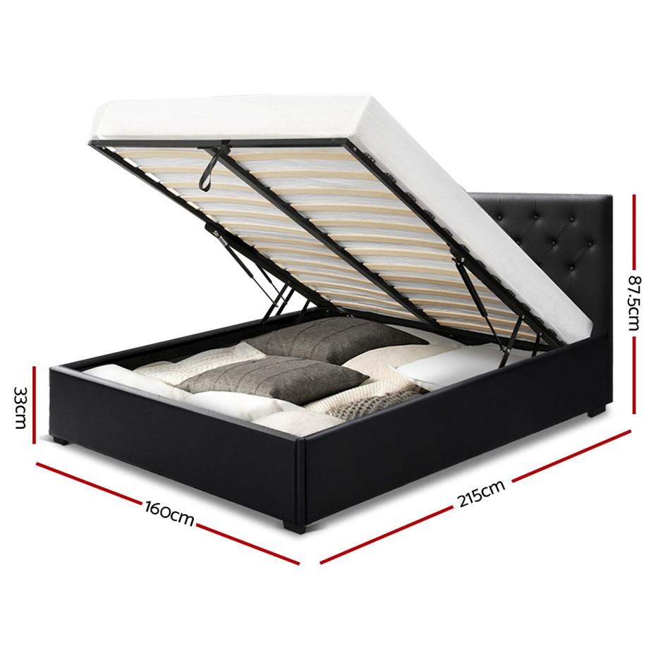 Artiss Queen Gas Lift Bed Frame Base Mattress Platform Leather Wooden Black