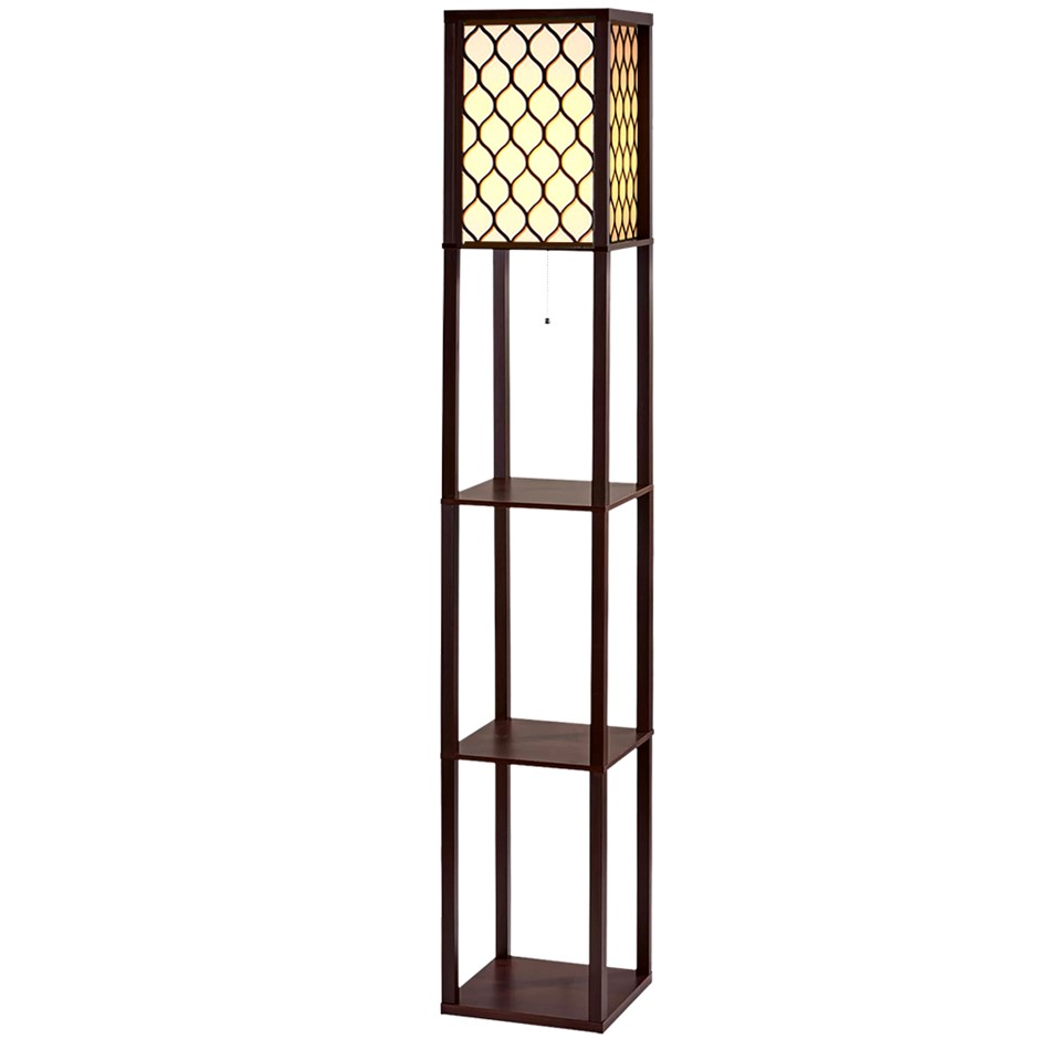 Artiss Floor Lamp Wood Shelf Modern Living Bedroom Lighting