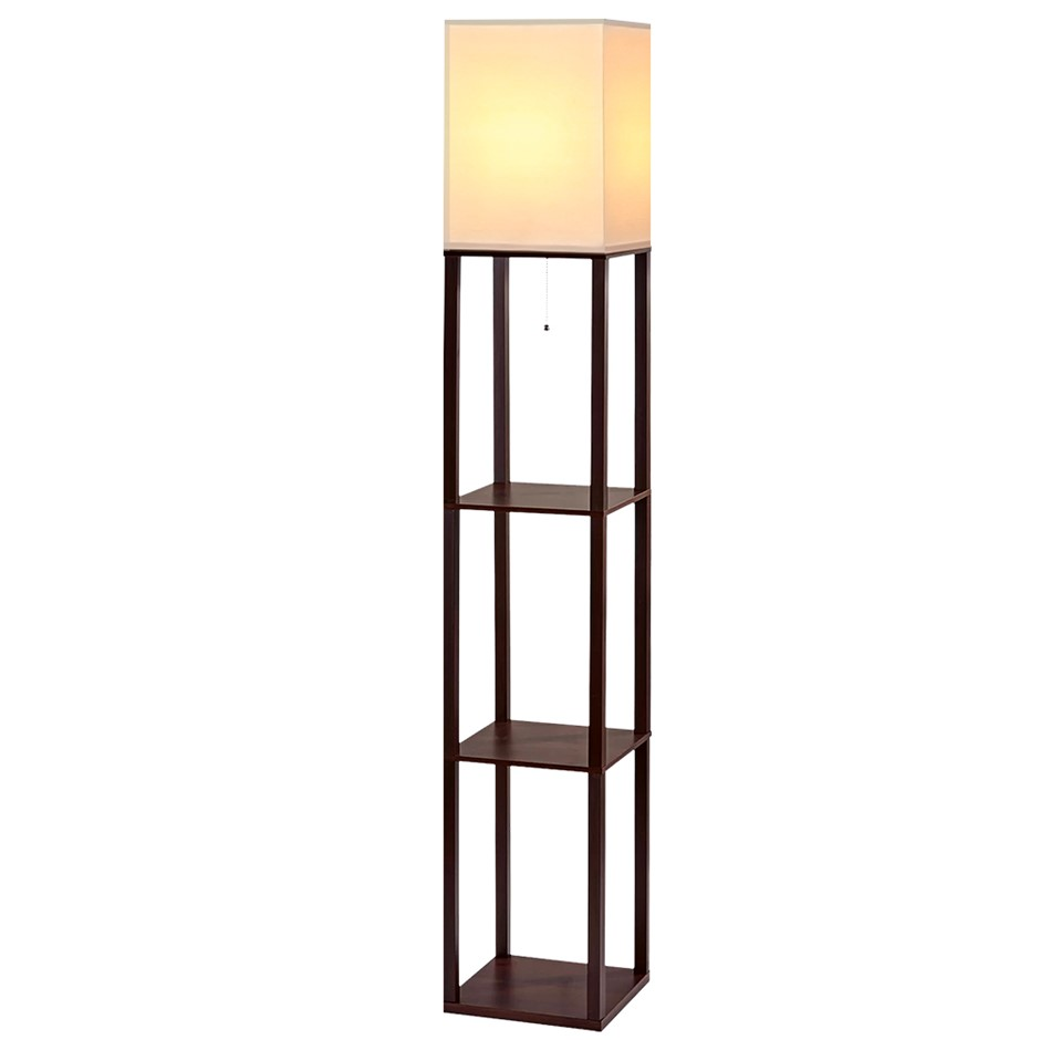 Artiss Shelf Floor Lamp Wood Reading Light Storage Organizer Home Office