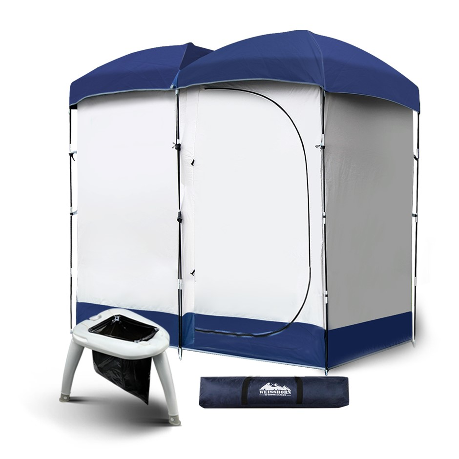 WEISSHORN Double Camping Shower Tent Toilet Outdoor Change Room Ensuite