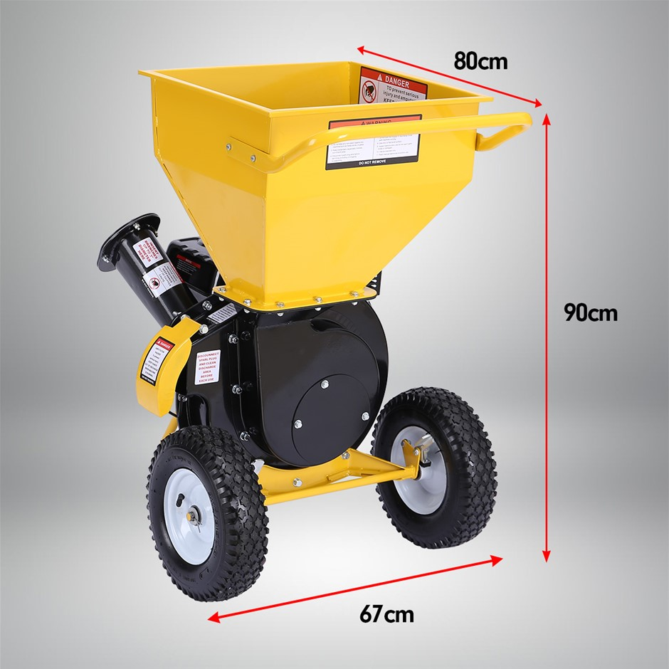 Ducar 8HP Wood Chipper Shredder Mulcher Petrol Yellow Black