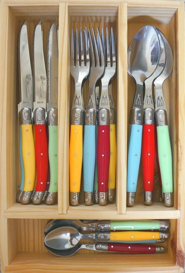 Laguiole by Louis Thiers 24-piece Cutlery Set Straight Handles Multi-colour