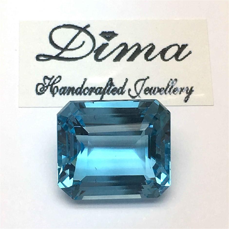 One Stone Blue Topaz Emerald Cut 19.82ct